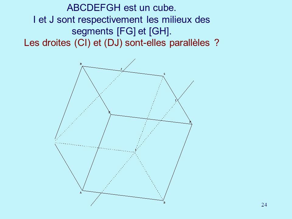 ABCDEFGH est un cube. I et J sont respectivement les milieux des segments [FG] et [GH].